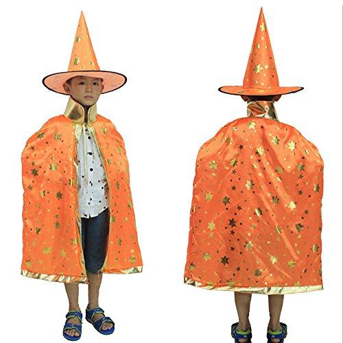 Eizur Bambini Halloween Mantello con Cappello Strega/ Mago Cappotto Raso Wicca Robe Cape Medievale Scialle Masquerade Costumi Cosplay Accessori - Arancia - Stars Il Partito Collare
