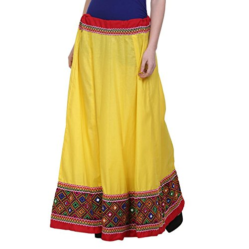 Vastraa Fusion Ethnic Long Skirt with Multi-colour Embroidered Matching Border - Yellow