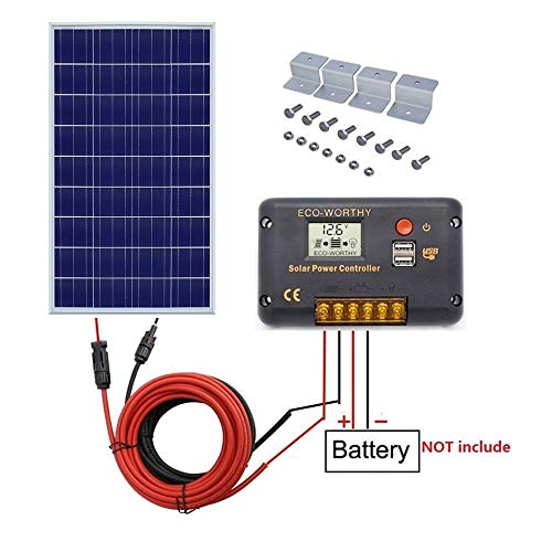 Solarpanel, Off-Grid Wohnmobil Boot, Kit: 100 Watt Solarpanel + 20 A LCD Display Laderegler + Solarkabel + Z-Halterungen ()