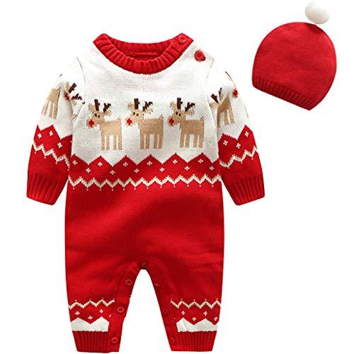 Baby Schlafanzüge Strampler Kleidung set Pullover - Kleinkind Overall mit Hut Schlafstrampler Baumwolle Langarm Pyjama Säugling Weihnachten Kostüme Einteiler Xmas Outfit Jungen Mädchen