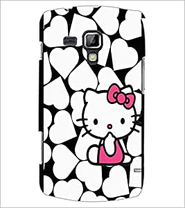 PrintDhaba Heart Kitty D-1255 Back Case Cover for SAMSUNG GALAXY S DUOS 2 S7582 (Multi-Coloured)