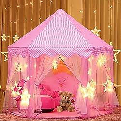 joylink Tente Princesse, Château de Princesse Tente avec LED Star Light de Jeu Maison de Jouet Château de Princesse Tente, 53'' x 55'' (DxH) (Type1)
