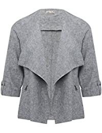 M&Co Ladies Linen Blend Tabbed Three Quarter Length Sleeve Open Cross Hatch Lapel Jacket