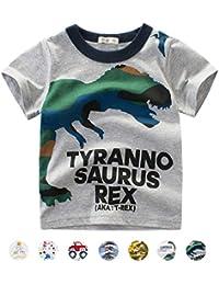 BOBORA T Tee Shirt Chemise Dinosaure /à Manches Courtes pour Gar/çon Enfants 1-10Ans Shirt B/éb/é Gar/çon