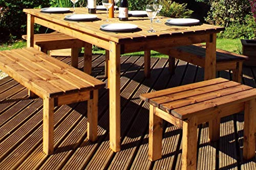 Home Gift Garden 8 Seater Outdoor Wooden Garden Table Bench Dining Set - Solid Wood Patio Decking Furniture