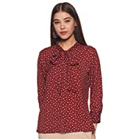 Amazon Brand - Symbol Women's Starred Regular fit Shirt (SYMSS20TP012_Wine Star1 Large)