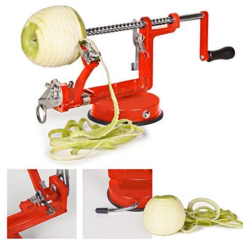 TecTake Apfelschneider Apfelschäler Apfelentkerner 3 in 1 – rot – - 4