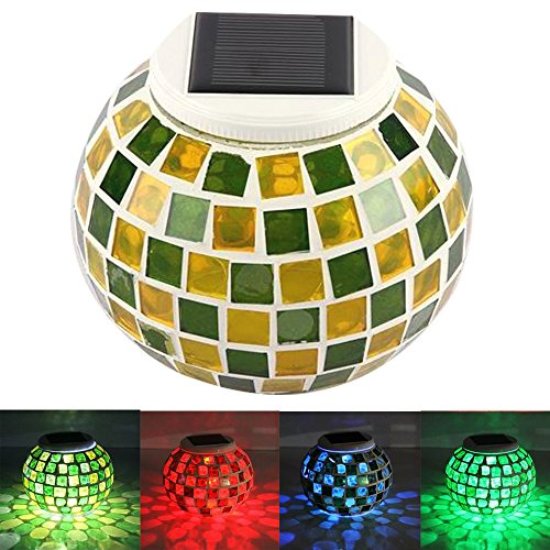 KEEDA Mosaic Solar Lights, Color Changing Crystal Mosaic Glass Ball LED Night Lights, Solar Powered Bedside/Desk/Table Lamps Lights, Solar Outdoor Garden Patio Party Mood Lights, Tabletop Decorative Lighting