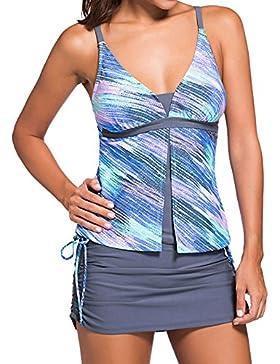 Choose Women's Zwei Stück V-Ausschnitt Colorblock Tankini Hosenrock Badeanzug