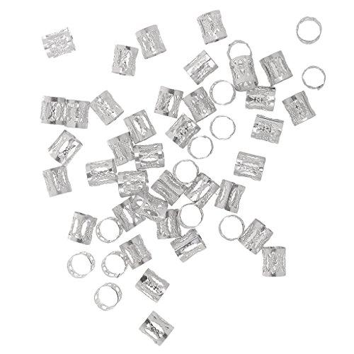 Gazechimp 50pcs / Pack Haarflechte Manschette Microring Perlen Zöpfe Flechten Beads Haarverlängerung - Silber