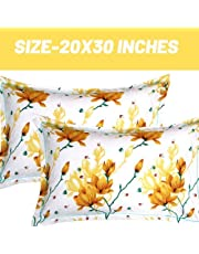 """Trendz Home Furnishing Cotton 2 Piece Cotton Pillow Cover Set - 20""""x30"""", Green, Rust and White"""
