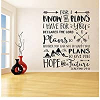 jqpwan Art Decor for I Know The Plans I Have for You Arrows Mountains Wall Stickers for Nursery Living Room Vinyl Decals Bedroom 74 * 58cm