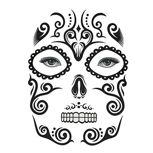 (P PRETTYIA Männer Frauen Totenkopf Tattoo Sticker Halloween Temporäre Tattoosm Fasching Karneval Kostüm Zubehör - Gesichts Make-up)