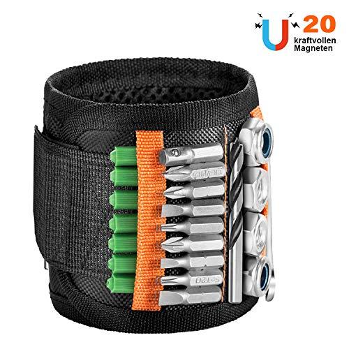 JUNDUN Magnetische Armbänder mit 20 Kraftvollen Magneten Magnetarmband Werkzeug für Schrauben,Nägel,Dübel, Bohrernn und Kleinen Werkzeugen - Bestes Geschenk für Handwerker