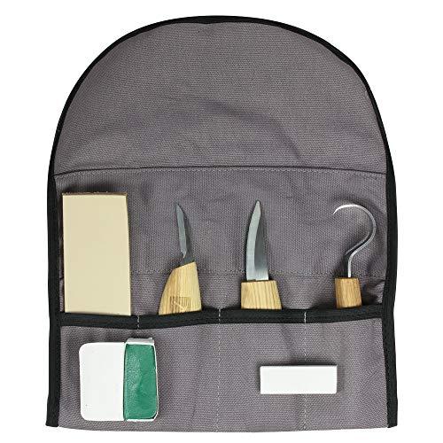 Zite Tools Schnitzwerkzeug-Set in Tasche 7-teilig - Schnitzmesser, Abziehstein, Riemenband, Polierwachs zum Holz Schnitzen