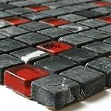 Glas Marmor Mosaik Fliesen 15x15x8mm Schwarz Rot