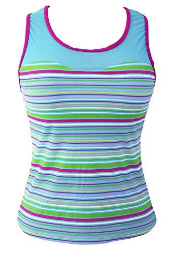 Damen Tankini Top Oberteil Bikini Shirt Tanktop Gestreift Netz-Optik breite Träger Rundhals Bunt Streifen