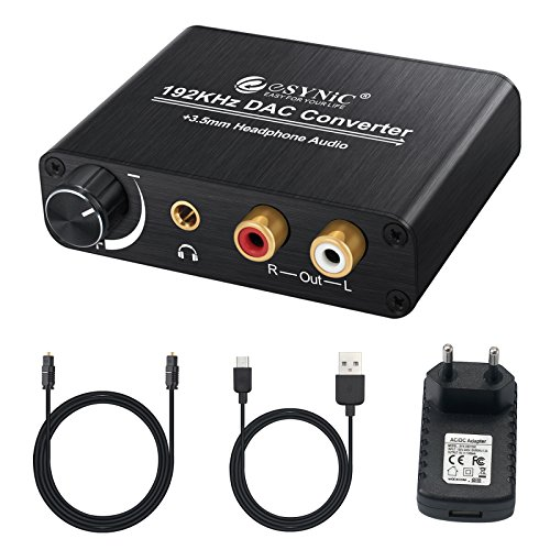 ESYNIC 192kHz Convertidor Digital a Analógico DAC con Volumen Ajustable Digital SPDIF Óptico Coaxial Toslink a Analógico Audio Estéreo L/R RCA para PS3 XBox HD DVD PS4 Sky HD Blu-ray Home Cinema