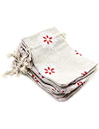 KEESIN Burlap Lavender Sachet Drawstring Pouch Flax Cotton Jewelry Pouch Bag Wedding Favor Gift Wrap (Snow)