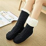 LILONGXI Warme Socken,Frau Winter Weihnachten Socken rutschfeste Boden Verdickung Warme Socken, Mädchen Plus Schwarz Muster Drucken Baumwolle Socken, Hausschuhe Freizeit Socken(3pcs)