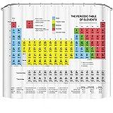 Tabla periódica de los elementos cortina de ducha de tela resistente al agua, 180cm x 180cm