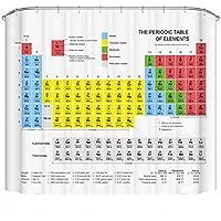 Cortina de ducha con la tabla periódica de los elementos, de tela resistente al agua, 180cm x 180cm