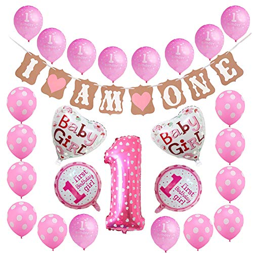Toupons 1. Geburtstag Dekorationen für Mädchen, rosa Alles Gute zum Geburtstag Banner Latex und Folie Ballons Kit (Rosa -2)