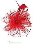 Sombrero con diadema de plumas y clip para pelo para mujeres y niñas Rojo rosso Talla única