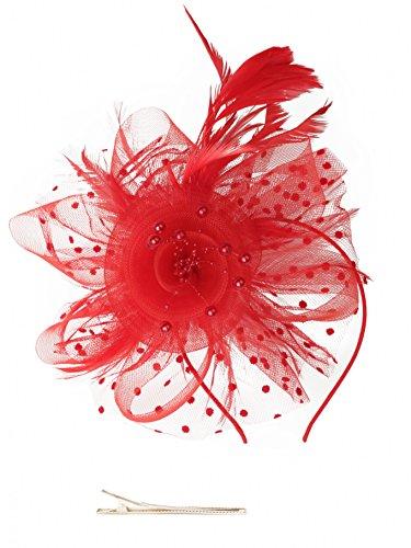 e Mesh Bänder Federn auf einem Stirnband und einem geteilten Clip Cocktail Tea Party Headwear für Mädchen und Frauen (Rotes Haar Mädchen Halloween Kostüme)