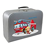 Kinderkoffer Pappe 40 cm silber mit Feuerwehr, Feuerwehrmann und Wunschname, Malkoffer Spielkoffer Puppenkoffer Pappkoffer