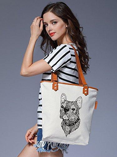 S.CHU Women's Aztec Dog Canvas Leather Tote Handbag Ladies Shoulder Bag Beige