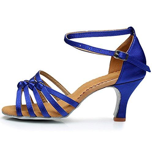 Oasap Women's Peep Toe Cross Strap Latin Party Dance Shoes Blue