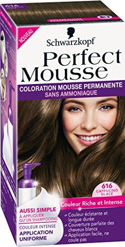 Schwarzkopf Perfect Mousse Haarfarbe Permanent Braun Frost 616 Cappuccino Eiscreme 186 g - 1 Stück -