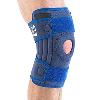 NEO G Stabilized Open Knee Support - Medical Grade Quality, x4 flexible stays for added support HELPS injured, arthritic knees, strains, sprains, pain, rehab, ACL, Meniscus Tear –ONE SIZE Unisex Brace