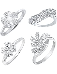 Mahi Rhodium Plated Combo Of Four Finger Rings With CZ For Women CO1104623R