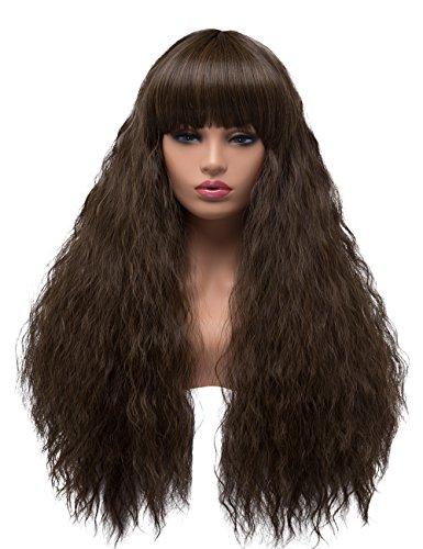 bestung lang gelockt gewellt Perücken für Frauen Damen Synthetik Full Hair Natural Light Braun Yaki Kinky Perücke mit Pony für Cosplay Kostüm oder Leben