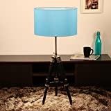 Wooden Tripod Floor Lamp Sheesham (Rose Wood) | Decorative Standing Light | Black Cotton Shade | Drum Shape - 5.08 Foot (Equals To 61 Inches) By Cocovey Homes (Blue)