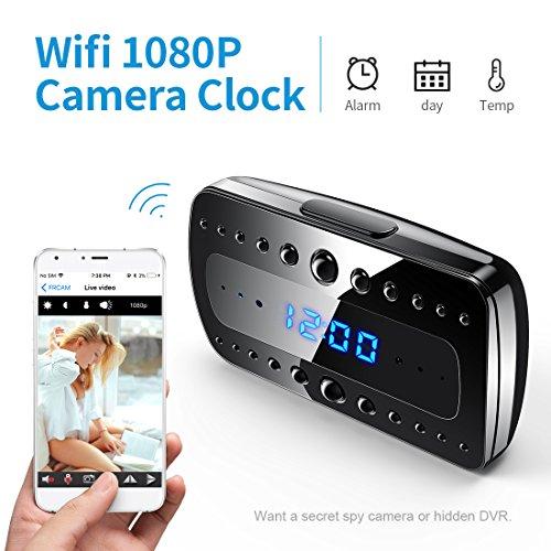Fredi 1080p wifi telecamera spia orologio-sveglia hd videocamera nascosta mini microcamere telecamera di sorveglianza videocamera di sicurezza wireless con visione notturna/rilevamento del movimento/temperatura videoregistratore ip camera interno spy cam wifi fotocamera