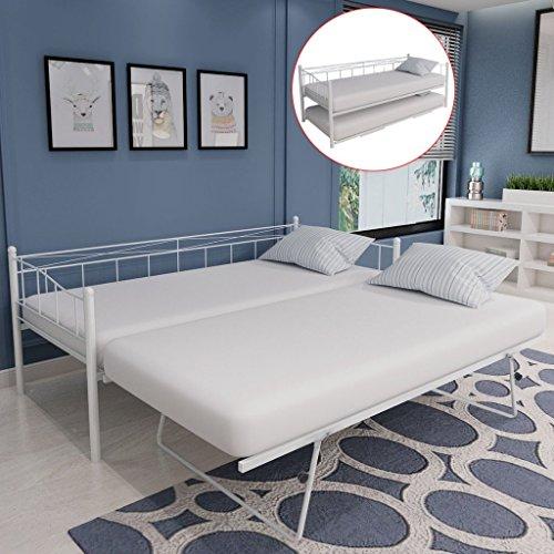 *Festnight Stahl Tagesbett Bett Bettgestell Stahlbett Praktische Gästebett Bettrahmen 180×200 / 90×200 cm*