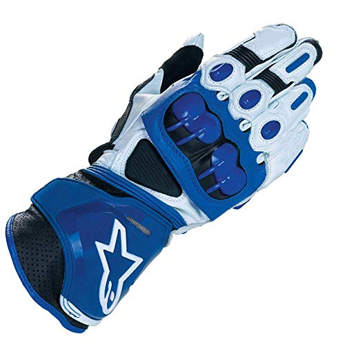 ZXT Motorcycle Long Gloves Racing Driving Motorbike Guanti Originali in Pelle Bovina (Colore : White Blue, Dimensioni : XL)