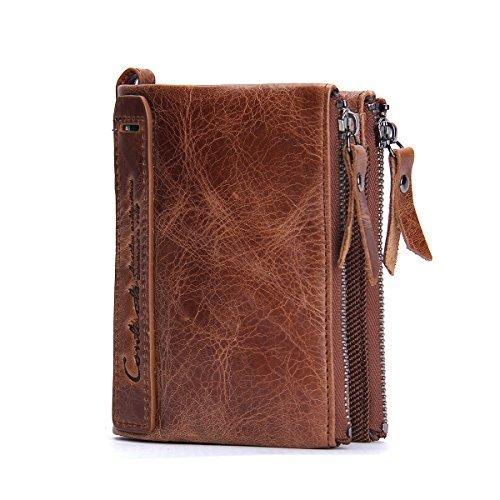 Herren Echtes Leder-Bifold Wallet Doppelreißverschlusstasche Geldbörse Braun (Wallet Leder Zipper Geldbörse)
