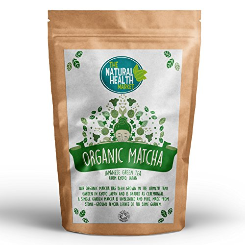 Organic Matcha Tea by The Natural Health Market Organic Green Tea from Japan Ceremonial Grade Single Garden Cultivar Traditionally Grown and Stone Ground in Kyoto (200g)