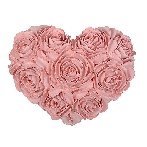 jw 3D Rose Blume Überwurf Kissen handgefertigt Herzförmiges Kissen Cover Home Kissenbezug Bett Sofa Couch Hochzeit Auto Decor Dekorative, Wolle und Wollgemisch, rose, With Filler - Auto Dekorative Kissen
