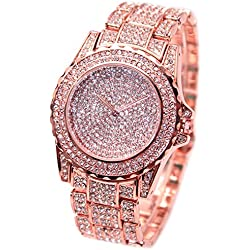 Bodhi2000® Women's Rose Gold Stainless Steel Band Wrist Watch Casual Dress Bracelet Rhinestone Watches