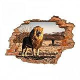 nikima - 103 Wandtattoo Löwe Savanne - Loch in der Wand - in 6 Größen - wunderschöne Kinderzimmer Sticker und Aufkleber Coole Wanddeko Wandbild Junge Mädchen Größe 1250 x 870 mm