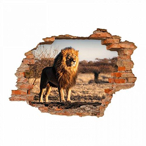 nikima 103 Wandtattoo Löwe Savanne - Loch in der Wand - in 6 Größen - Wunderschöne Kinderzimmer Sticker und Aufkleber Coole Wanddeko Wandbild Junge Mädchen Größe 750 x 520 mm