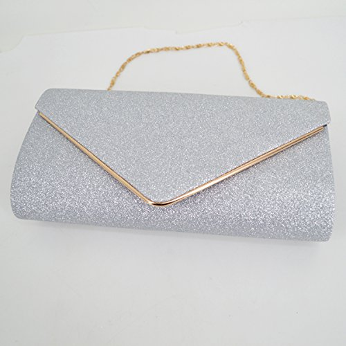 Milya Mode Fashion Glitzerig Clutch Tasche Abendtasche Hand Kupplung Paket für Damen und Ladys mit Magnetverschluss Schwarz Silber