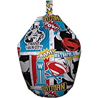 Batman Superman Bean Bag-Colourful Strip Style Marvel Comics Beanbag. Exclusive, Officially Licensed Design. Perfect for a Bedroom Or Playroom, Fabric, Multi-Colour, 52x52x38 cm