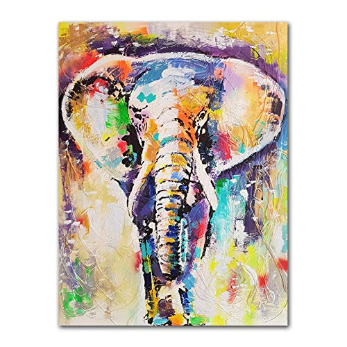 Dayanzai Arte De La Pared Pintura Animales Abstractos Impresiones Al Óleo Elefantes...