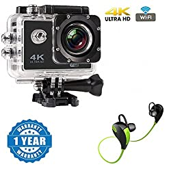 Captcha 4K WIFI Sports Action Camera Ultra HD Waterproof DV Camcorder 12MP 170 Degree Wide Angle With Bluetooth Stereo Headset Sweat proof, Jogger, Running, Sport Compatible with Xiaomi, Lenovo, Apple, Samsung, Sony, Oppo, Gionee, Vivo Smartphones (One Year Warranty)